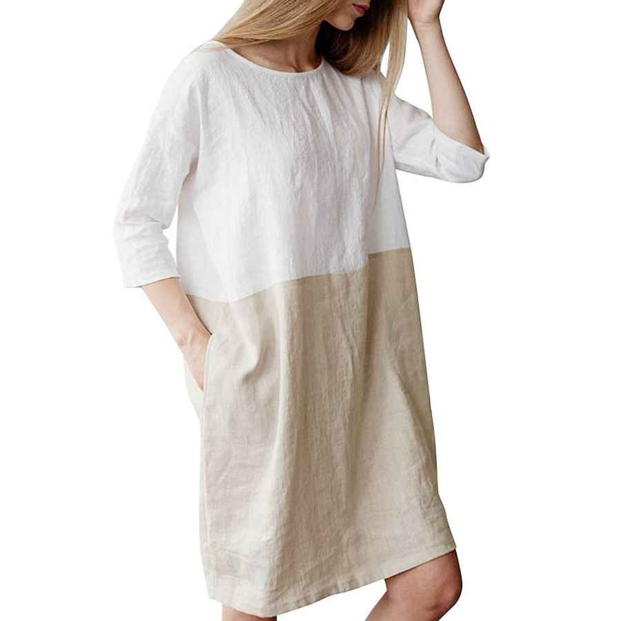 Womens Casual Dresses Famulily Women's Oversized 3 4 Sleeve Two Tone Colors Loose T Shirt Dress With Pockets