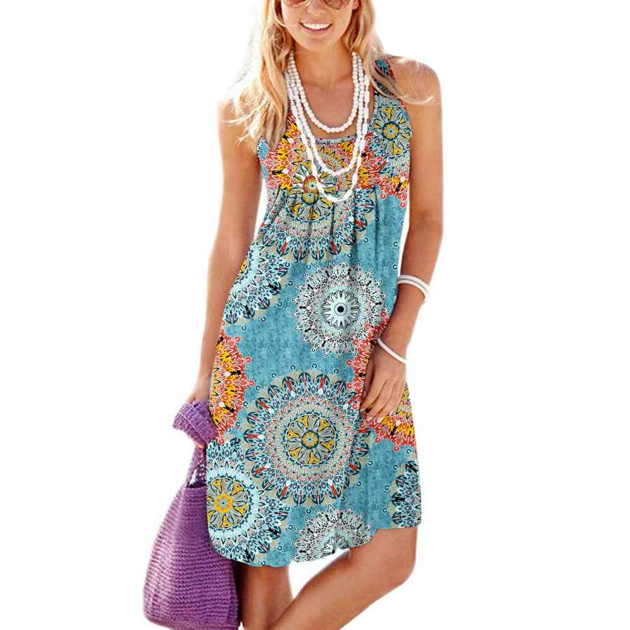 Womens Casual Dresses Jouica Women's Casual Summer Tank Sleeveless Knee Length Pleated Sun Dresses With Pockets