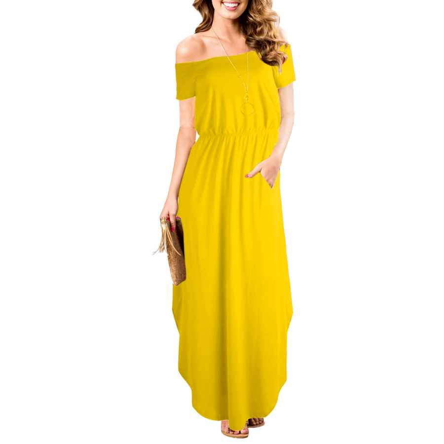 Womens Casual Dresses Women Off Shoulder High Waist Short Sleeve Summer Long Maxi Dress With Pockets