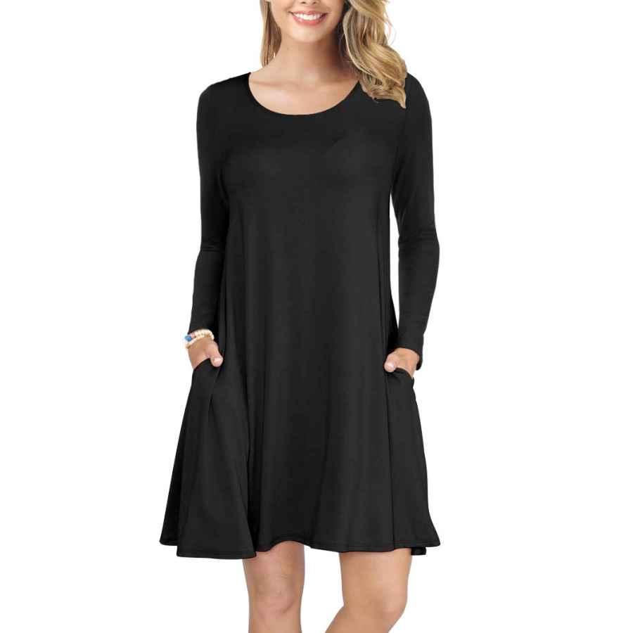 Womens Casual Dresses Korsis Women's Long Sleeve Tops T-Shirt Dress Round Neck Casual Loose Dress