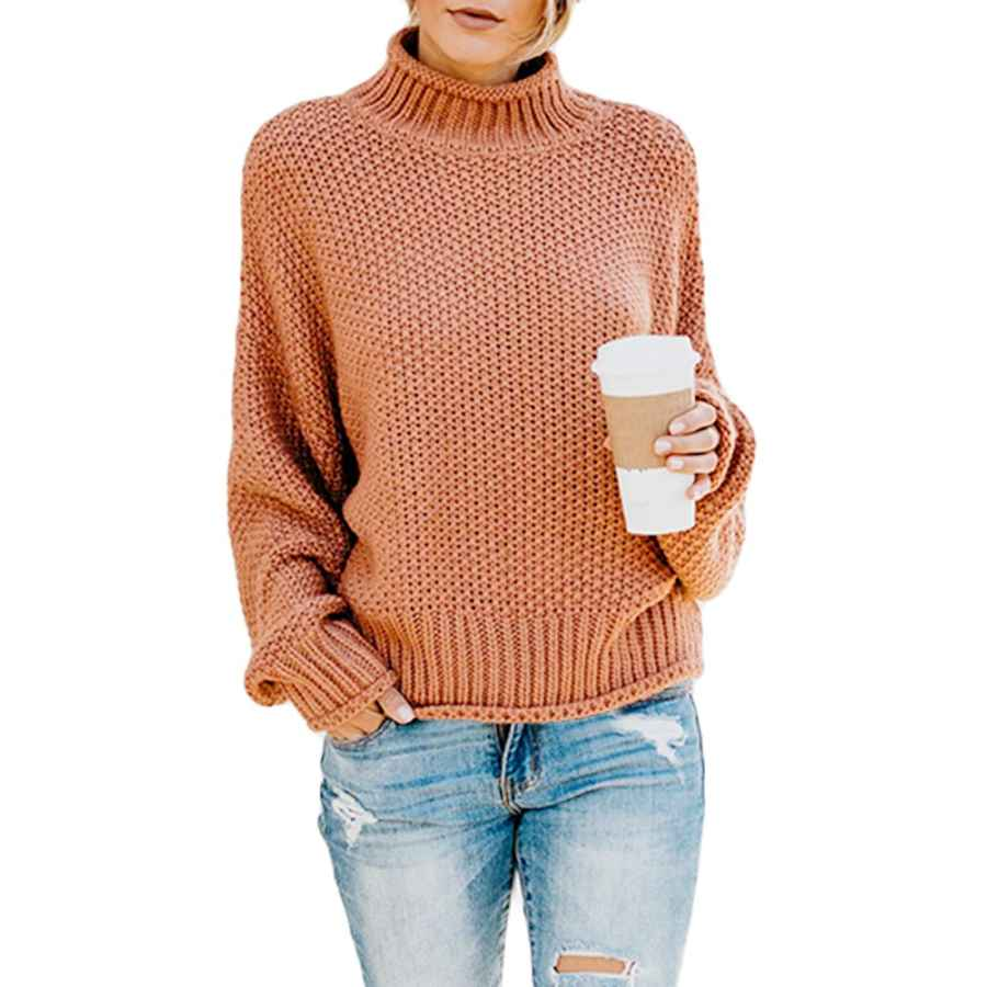 Pullower Ybenlow Womens Turtleneck Sweaters Batwing Long Sleeve Casual Loose