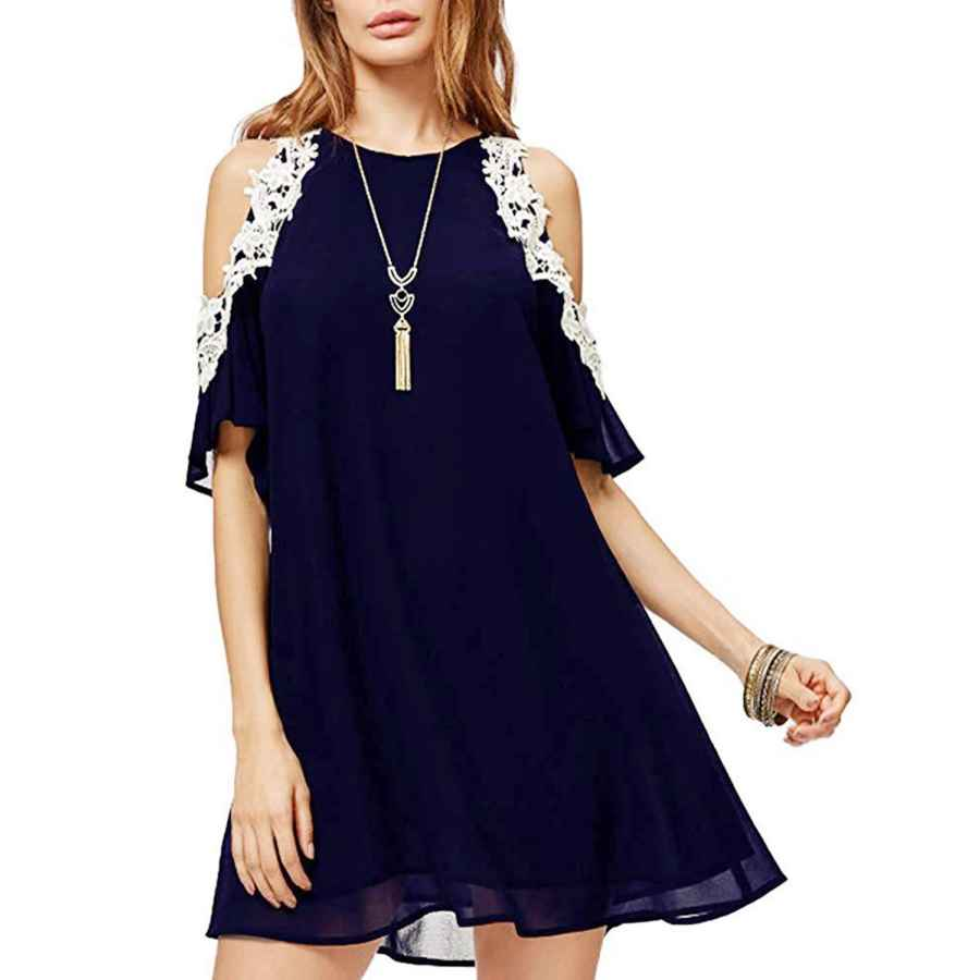 Womens Casual Dresses Glamaker Women's Summer Strap V Neck Chiffon Sleeveless Ruffle Loose Shirt Dress Tunic Tank Top