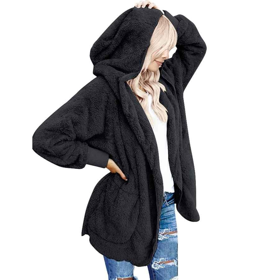 Cardigans Zeagoo Women's Winter Warm Faux Fur Coat Long Sleelve