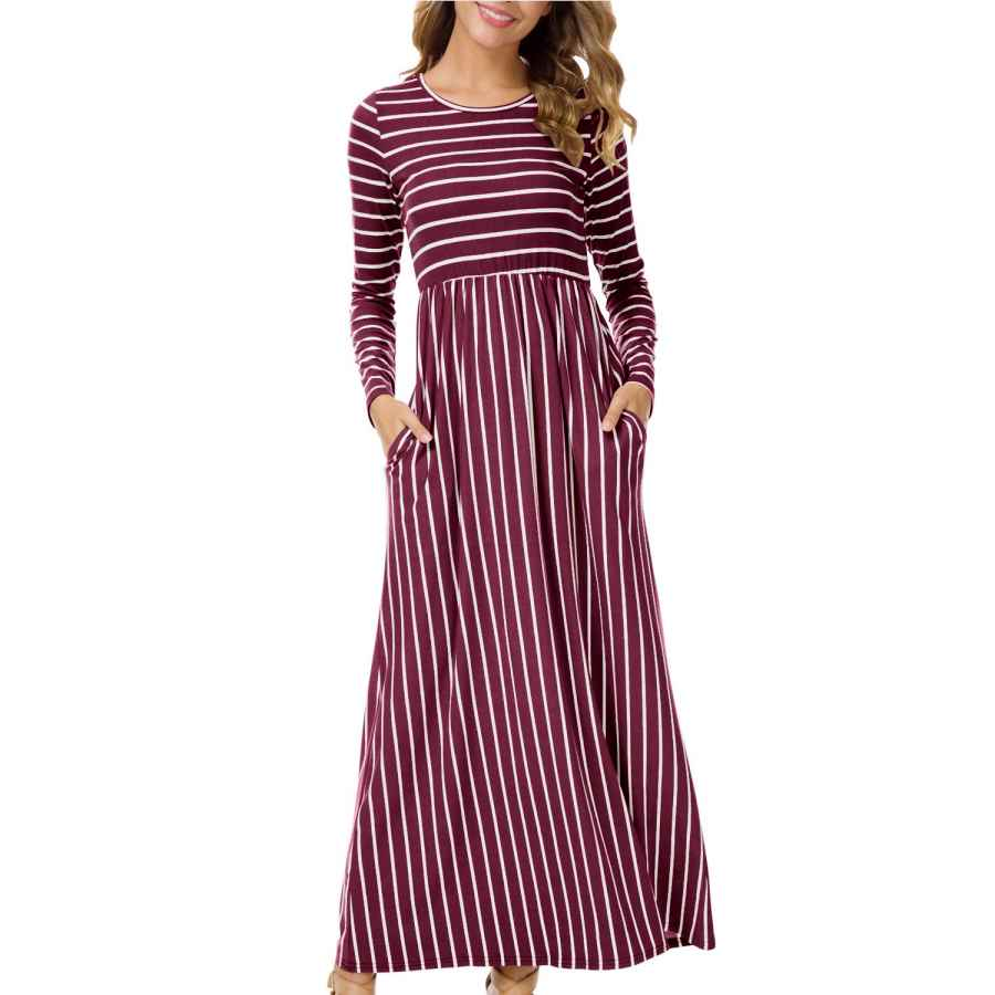 Womens Casual Dresses Levaca Women's 3/4 Sleeve Elastic Waist Pockets Striped Flare Casual Maxi Dress