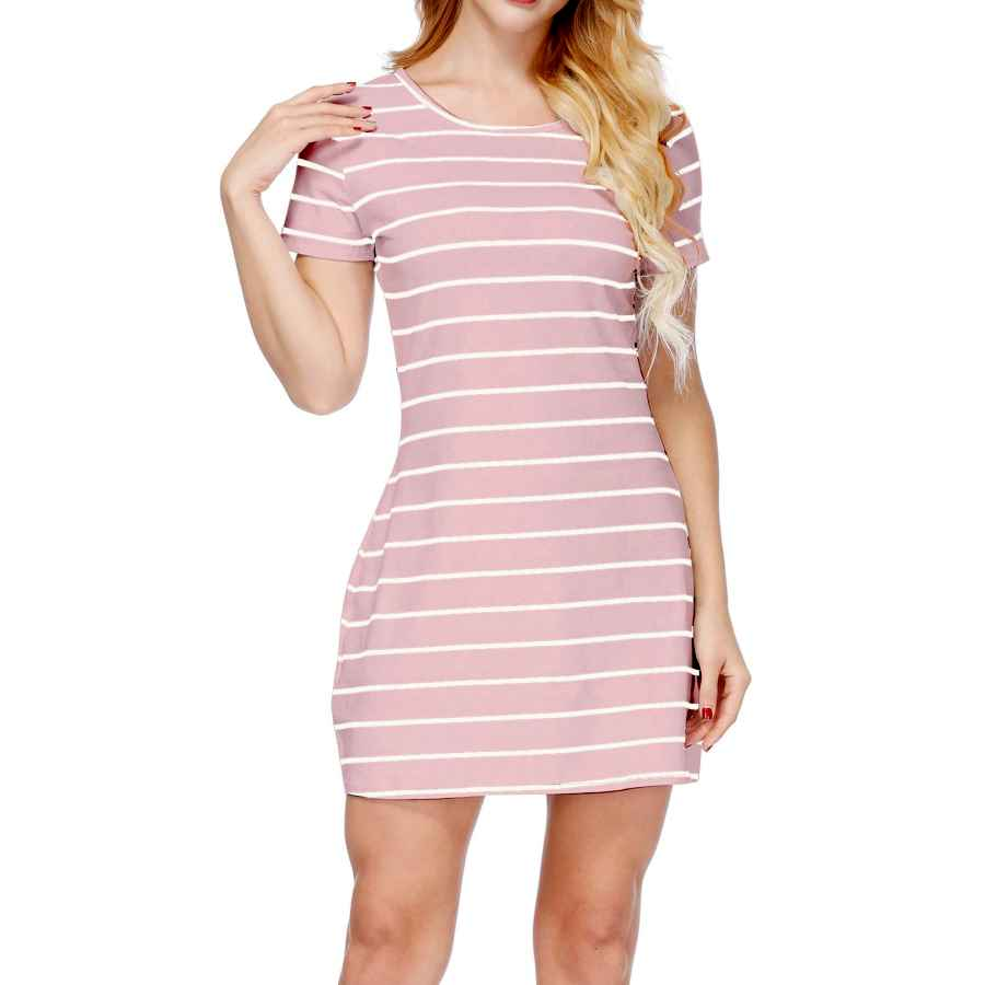 Womens Casual Dresses Cyflymder Womens Casual Loose Striped Lovely Dress Short Sleeve T Shirt Mini Dress With Pockets