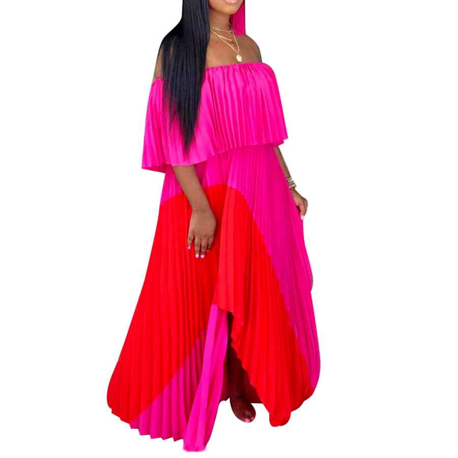 Womens Casual Dresses Iymoo Womens Sexy Chiffon Sundress Off Shoulder Ombre Tie Dye Pleated Skirts Long Boho Beach Maxi Dress