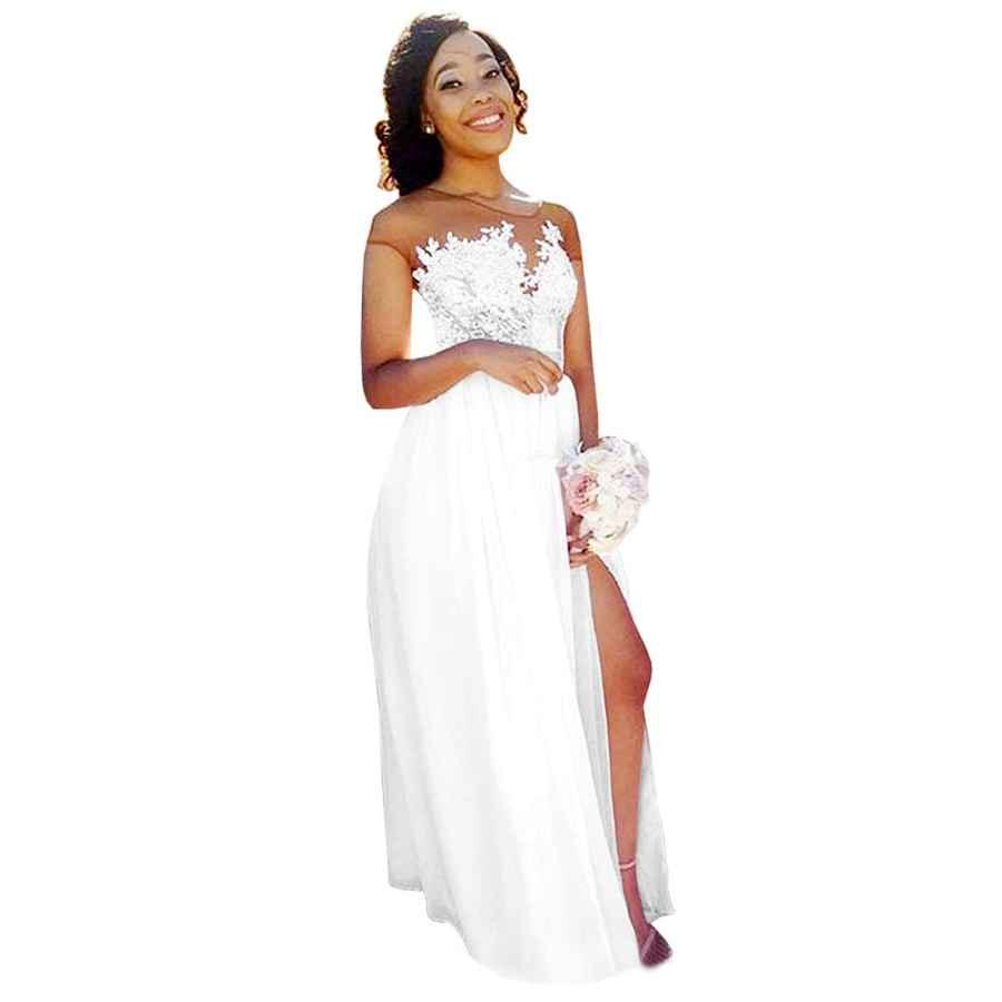 Wedding Dresses Yilis Women's Illusion Neck A Line Chiffon Beach