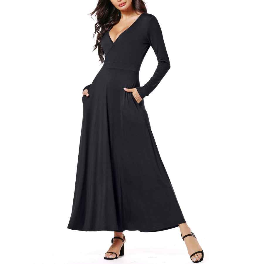 Womens Casual Dresses Huhot Women Floral Long Sleeves V Neck A Line Unique Cross Wrap Fall Maxi Dresses With Pockets