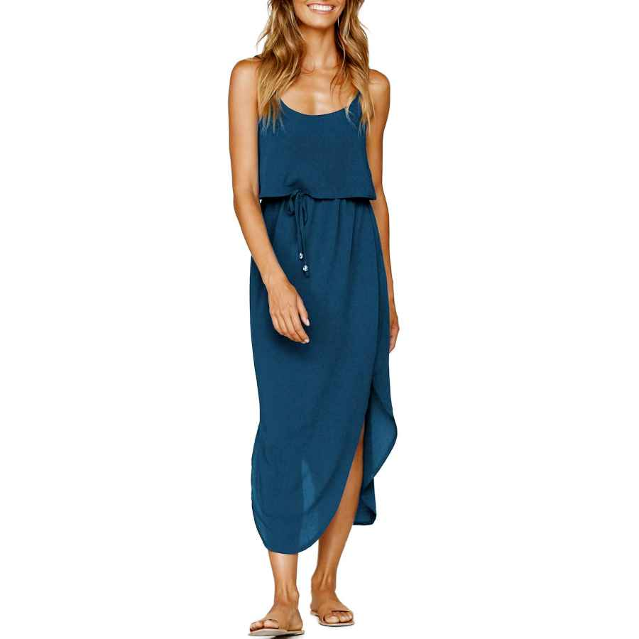 Womens Casual Dresses Zjct Womens Dresses Adjustable Strappy Sleeveless Side Split Casual Summer Beach Midi Dress With Pockets