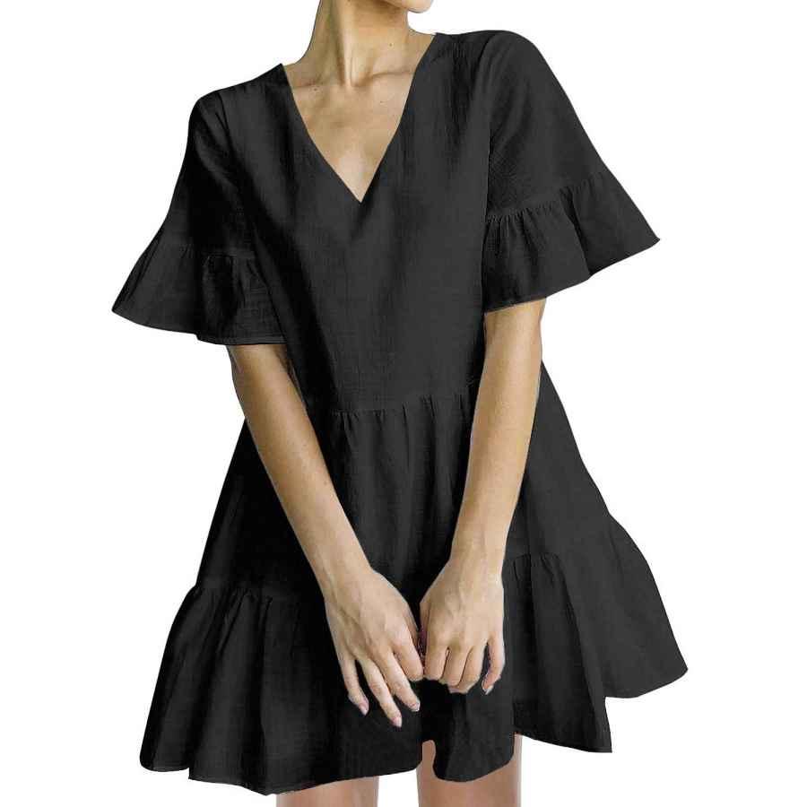 Womens Casual Dresses Fancyinn Women's Cute Shift Dress With Pockets Fully Lined Bell Sleeve Ruffle Hem V Neck Loose Swing Tunic Mini Dress