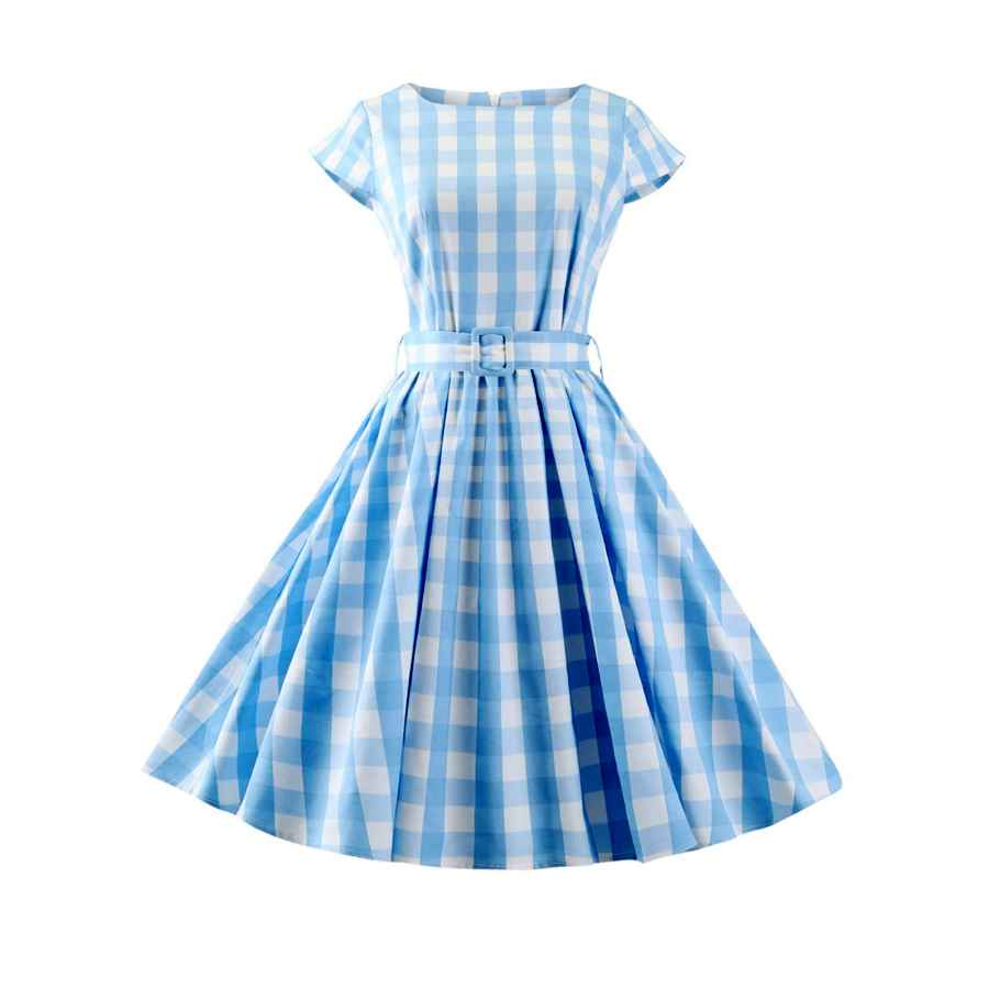Womens Casual Dresses Women 50s Dress Plaid Pleated Waist Swing 1950s Vintage Dress With Pocket