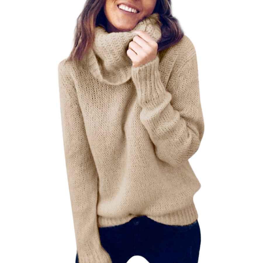 Pullower Zhenwei Sweaters For Women Turtleneck Long Sleeve Soft Knitted