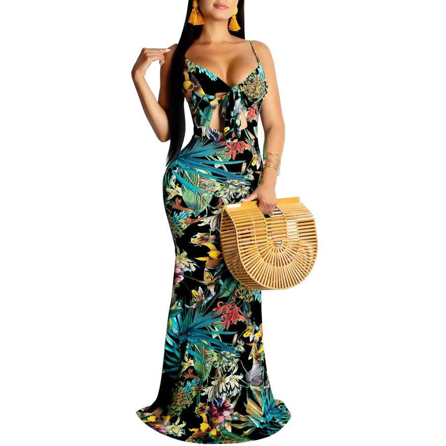 Womens Casual Dresses Shekiss Women's Summer Floral Spaghetti Strap Long Maxi Dresses Low-Cut Bohemian Beach Sundress