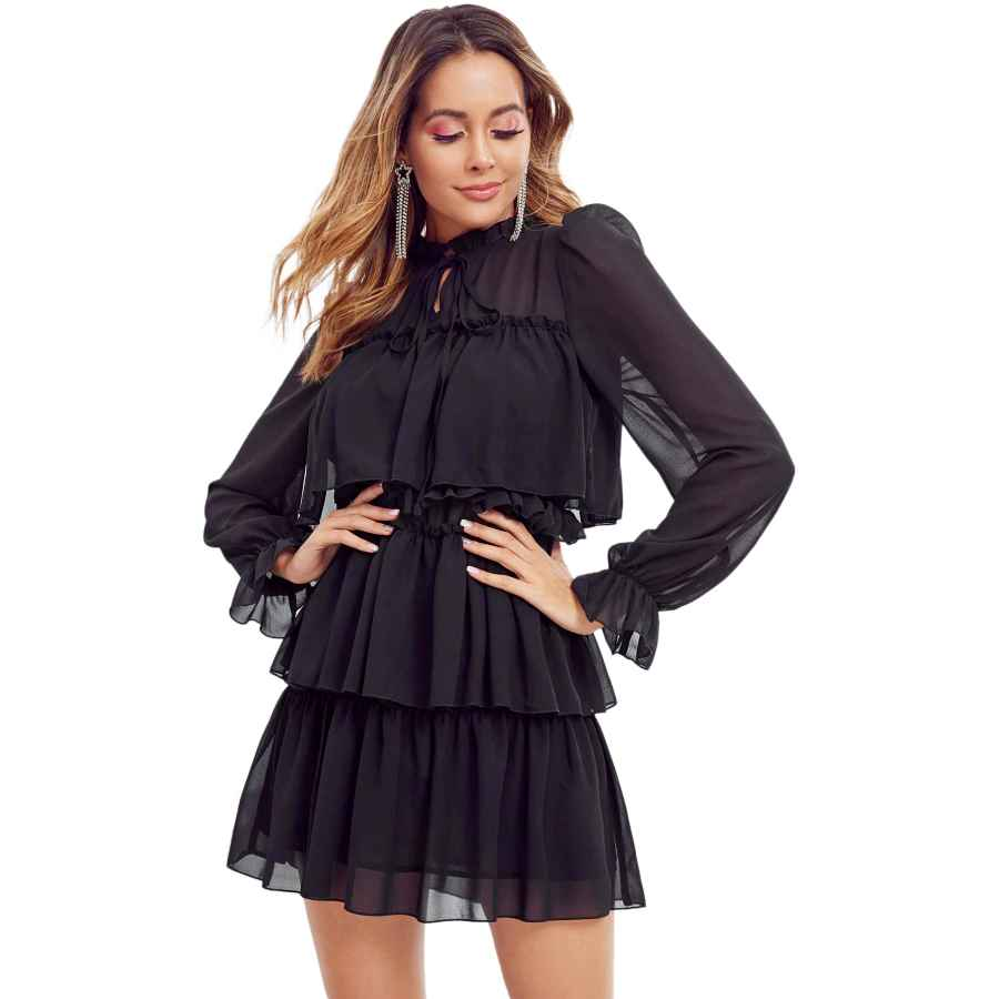 Womens Casual Dresses Soly Hux Women's Vintage Long Sleeve Tie Neck Ruffle Trim Layered Mesh Sheer Mini Dress