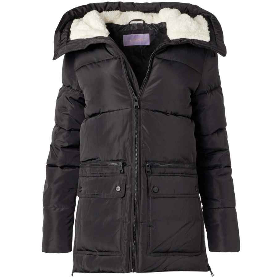 Madden Girl Women's Outerwear - Heavyweight Bubble Puffer Jacket With Oversized Sherpa Fur Lined Hood