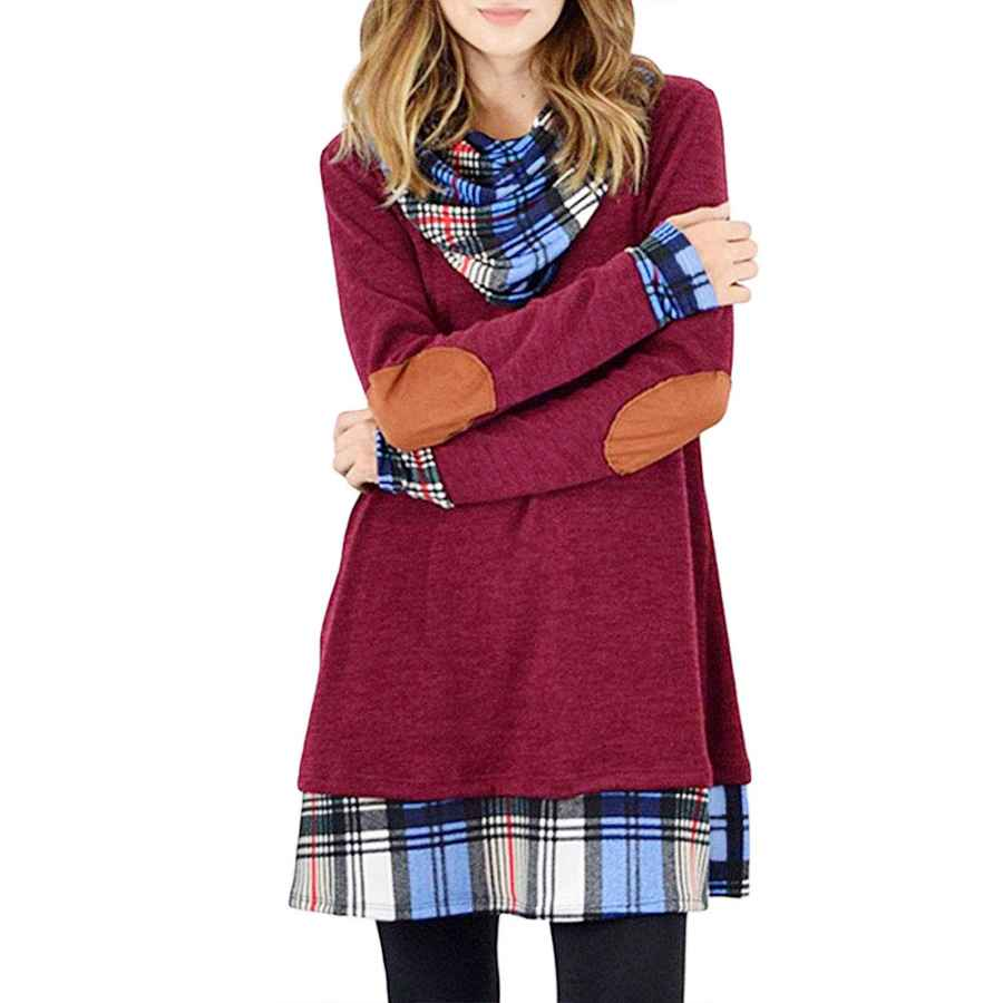 Womens Casual Dresses Alaster Queen Women's Cowl Neck Long Sleeve Plaid Elbow Patch Casual Sweater Mini Tunic Dress For Women