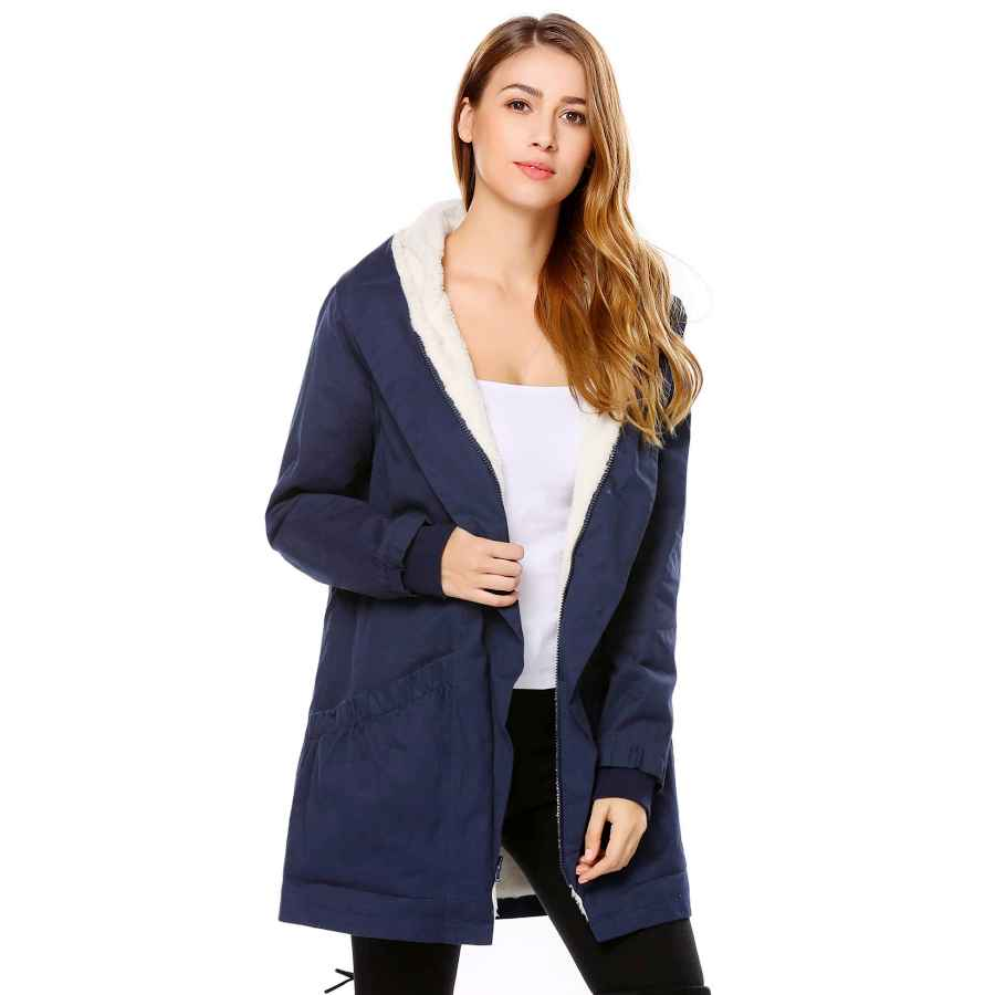 Vutolee Women Winter Pea Coat - Fashion Single Breasted Wool Blend Overcoat Loosen Shoulder Outwear Jacket L09