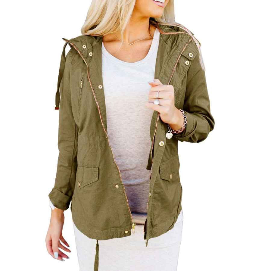 Saodimallsu Womens Casual Military Anorak Safari Utility Trench Jacket Windbreaker Parka Hoodie Coat