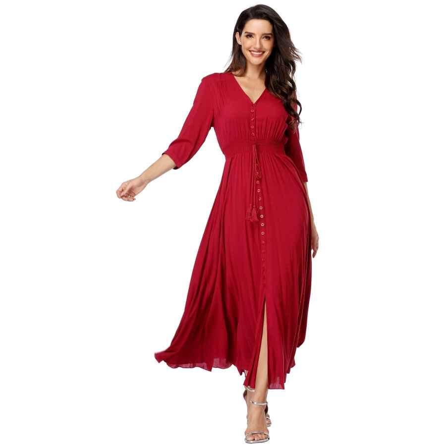 Womens Casual Dresses Women's Maxi Dresses Half Sleeves Boho Button Up Split Floral Vintage Party Dress