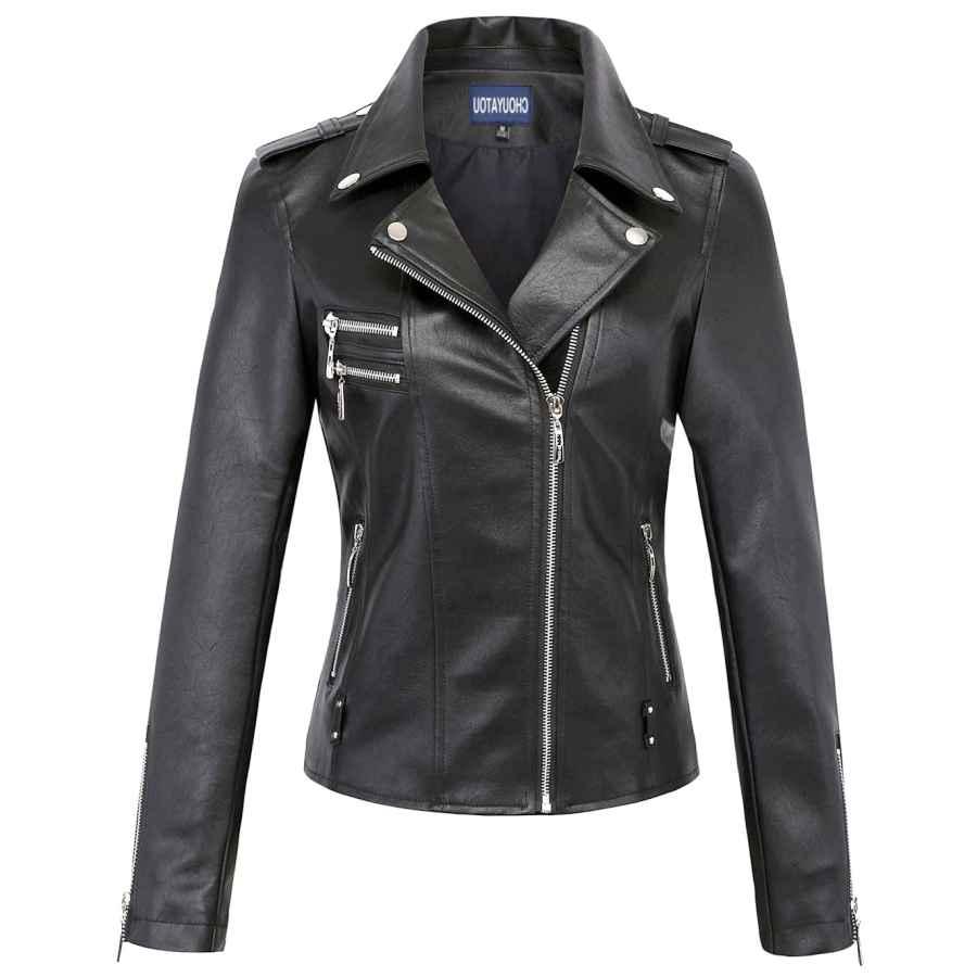 Uaneo Women's Slim Faux Leather Motorcycle Biker Jacket Outerwear