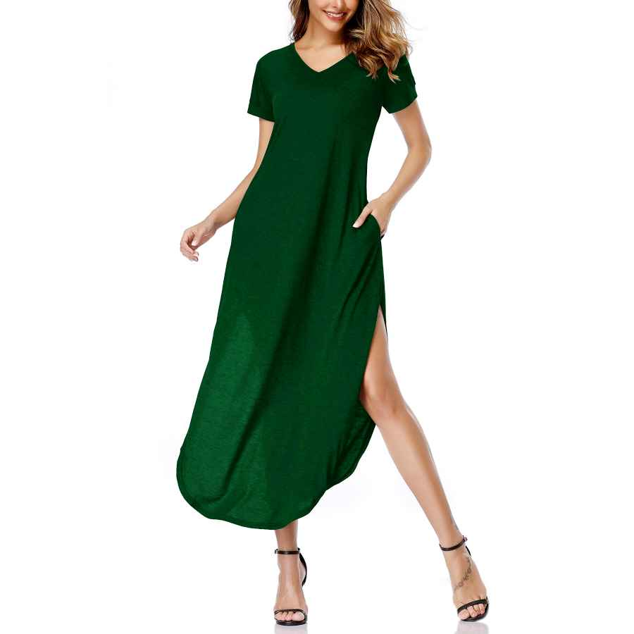 Womens Casual Dresses Oten Women's Maxi Dresses Casual Split V Neck Loose Fit Long Dress Short Sleeves With Pockets