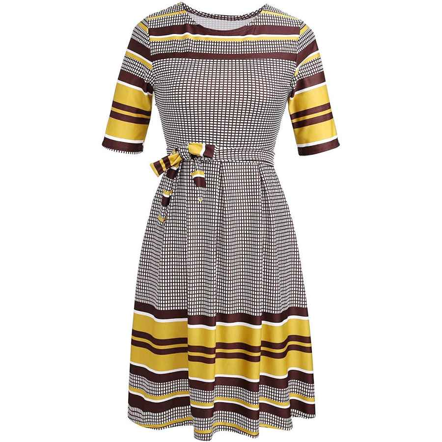 Womens Casual Dresses Women's Plaid Casual Dresses Mediumt Sleeve Cocktail Swing Retro Dresses With Belt