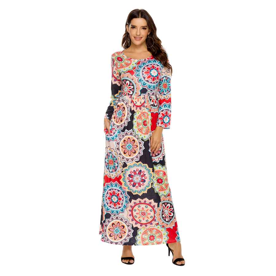 Womens Casual Dresses Womens Dresses Long Maxi Dresses For Women Long Sleeve Crew Collar Boho Loose Floral Plain Pockets Casual Dress
