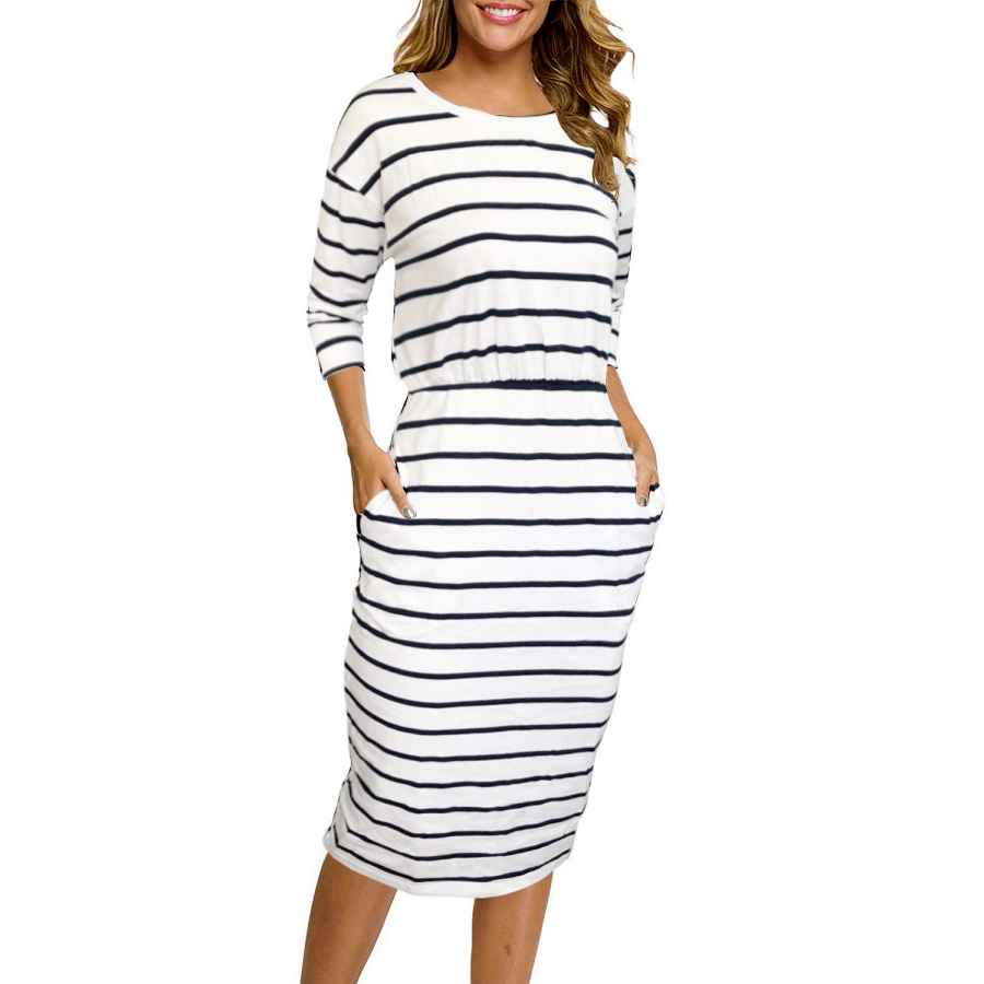 Womens Casual Dresses Moyabo Women's 3/4 Sleeve Round Neck Hips-Wrapped Casual Office Pencil Dress