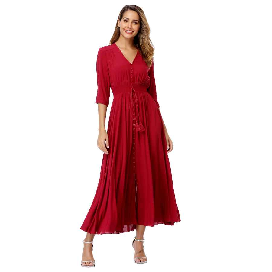 Womens Casual Dresses Vintageclothing Women's Floral Maxi Dresses With Sleeves Flowy Boho Beach Dress