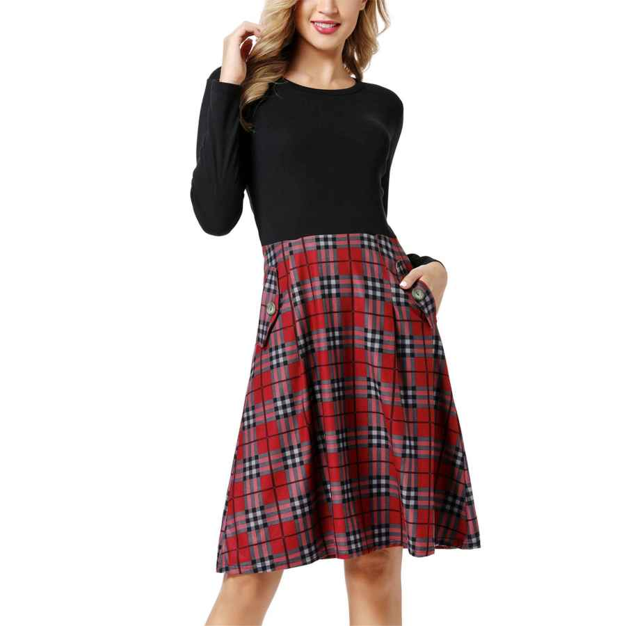 Womens Casual Dresses Zldso Womens Long Sleeve Pockets Plaid Elegant Dress Swing Work Casual Dress