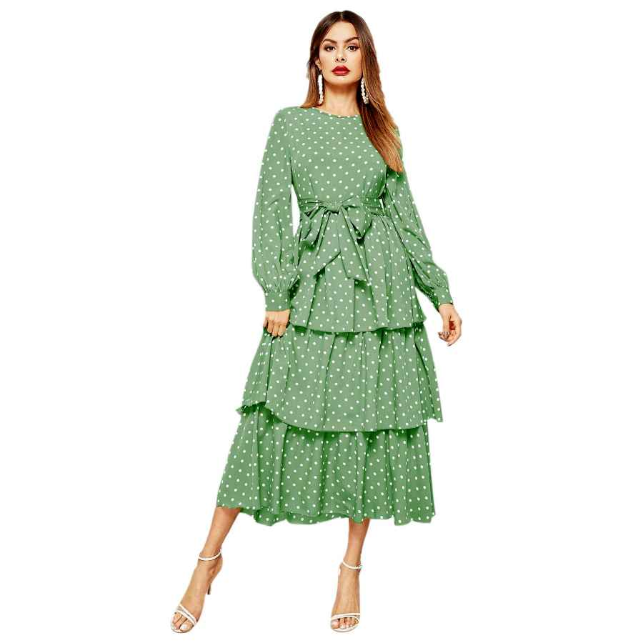 Womens Casual Dresses Romwe Women's Elegant Vintage Polka Dot Lantern Long Sleeve Belt Layered Ruffle Hem Midi Dress