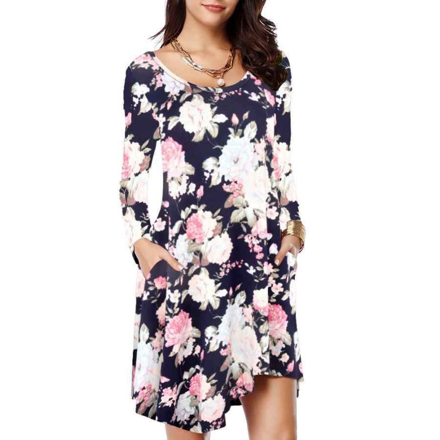 Womens Casual Dresses Jollielovin Women's Long Sleeve Pockets Loose T-Shirt Dress Asymmetrical Hem