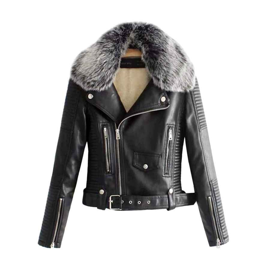 Lentta Women's Faux Fur Collar Pu Leather Fleece Lined Warm Quilted Moto Jacket