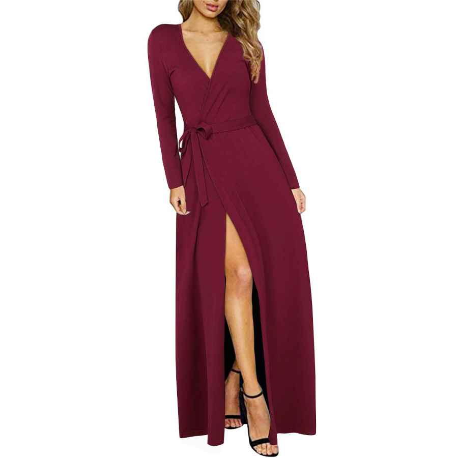 Womens Casual Dresses Kilig Women's Dress Sexy Deep V-Neck Long Sleeve Split Long Maxi Dresses For Party Casual Wrap Dress With Belt