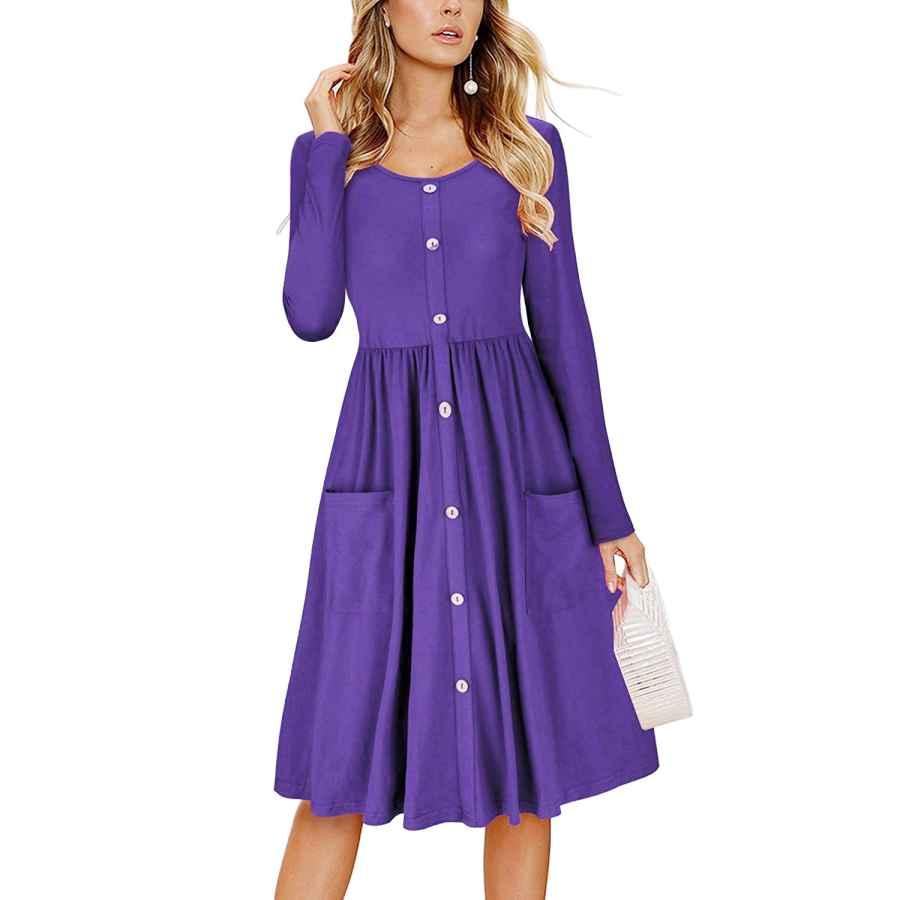 Womens Casual Dresses Showu Women Casual Midi Dress Long Sleeve Shirt Dress Button Down Swing A Line Tunic Dress With Pockets