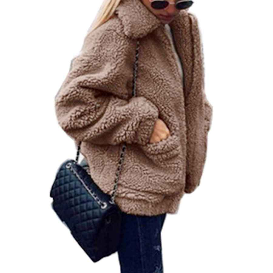 Shibever Fluffy Women Coats Faux Wool Blend Warm Winter Jacket Zip Up Long Sleeve Oversized Fashion Outerwear