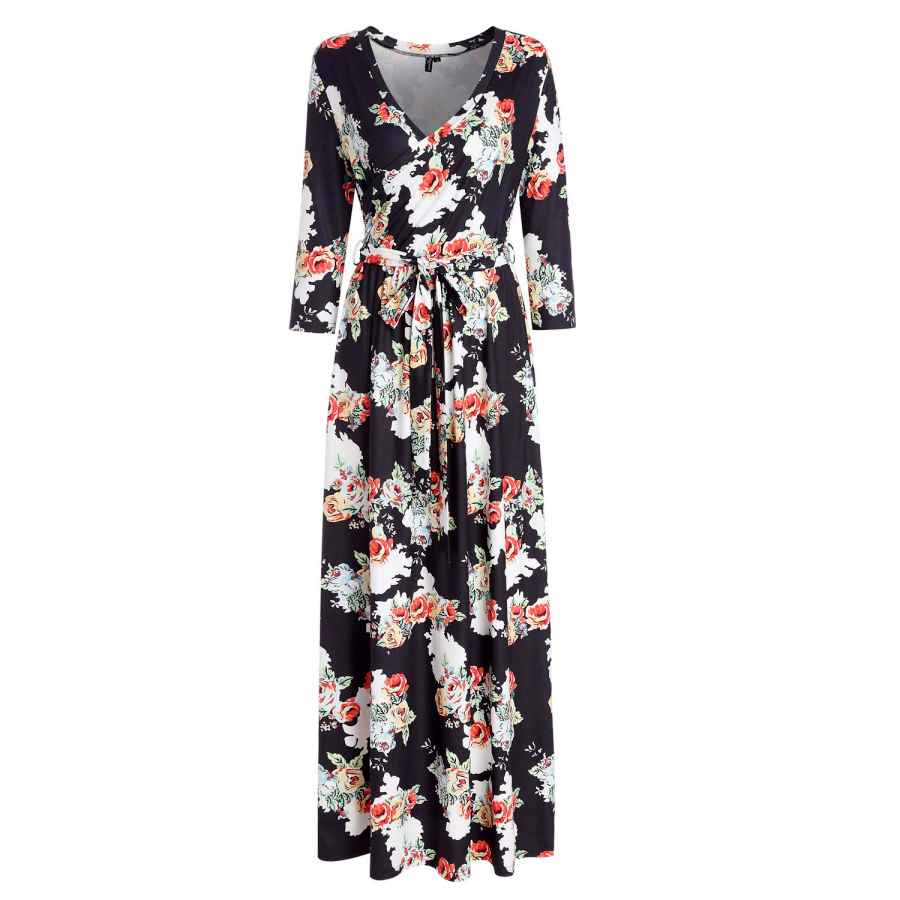 Womens Casual Dresses Kranda Womens 3/4 Sleeve V Neck Floral Print Faux Wrap Long Maxi Dress With Belt