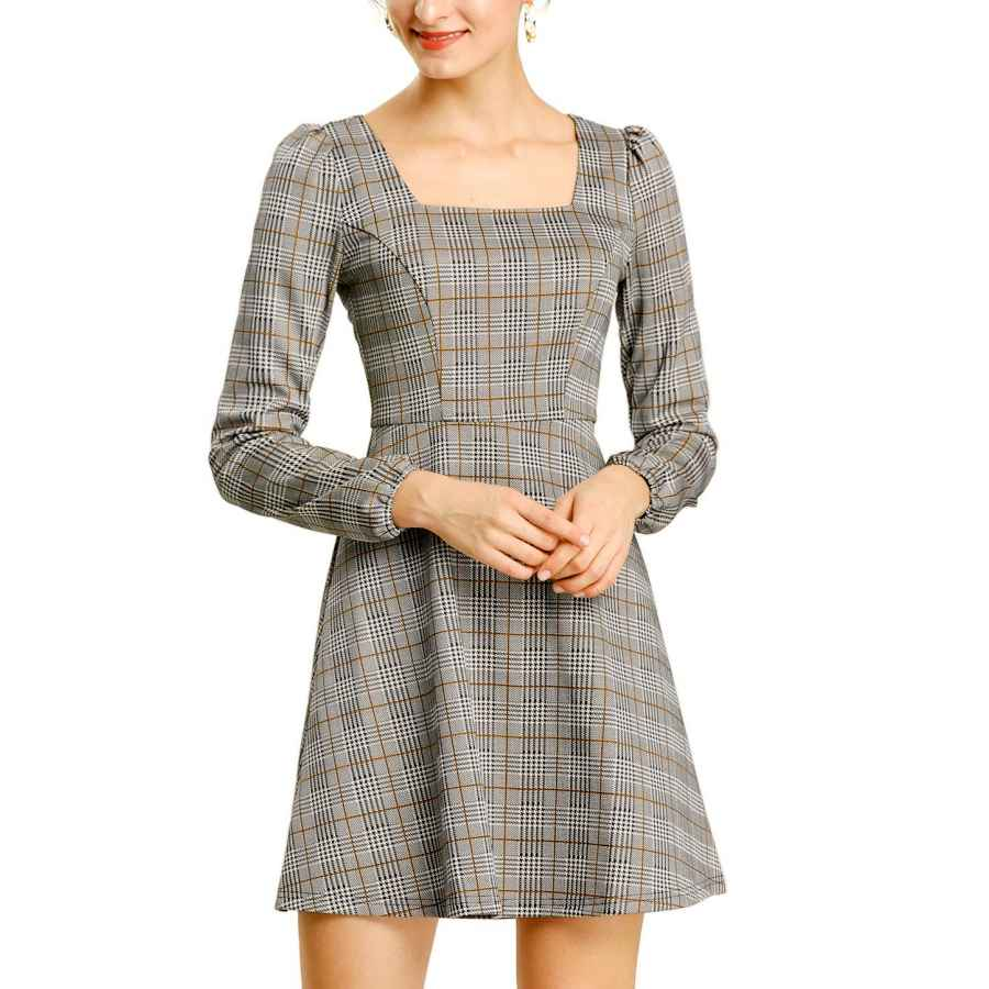 Womens Casual Dresses Allegra K Women's Fall Houndstooth Dresses Square Neck Long Sleeve Vintage Autumn Plaid Dress