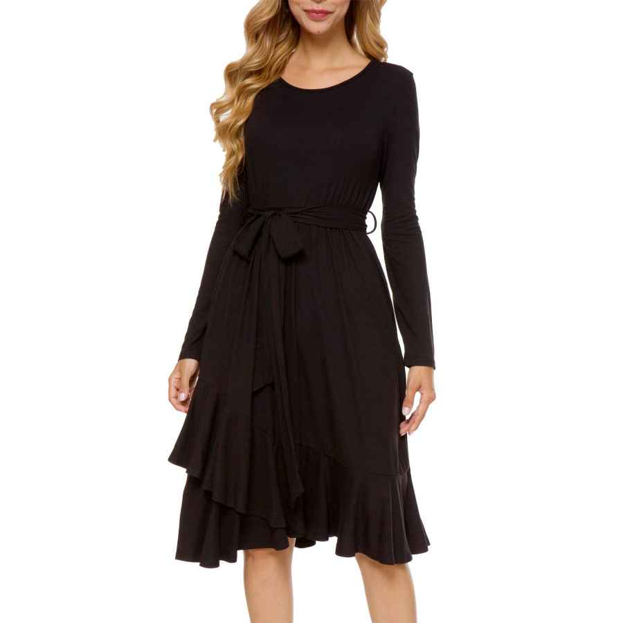 Womens Casual Dresses Levaca Women's Plain Long Sleeve Flowy Modest Midi Work Casual Dress With Belt