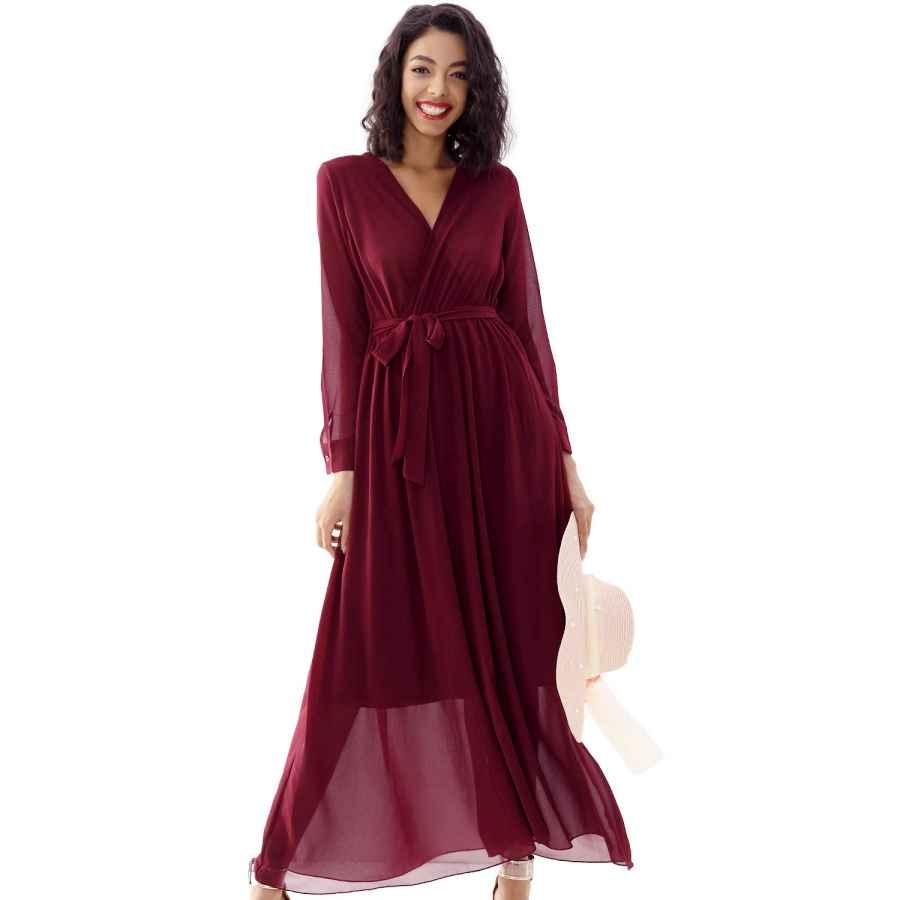 Womens Casual Dresses Double Chic Women's Casual Maxi Dress Deep V Neck Wrap Long Sleeve Swing Chiffon Dress With Pockets