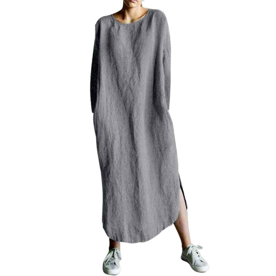 Womens Casual Dresses Audate Women's Plus Size Loose Cotton Linen Long Kaftan Dress With Pockets