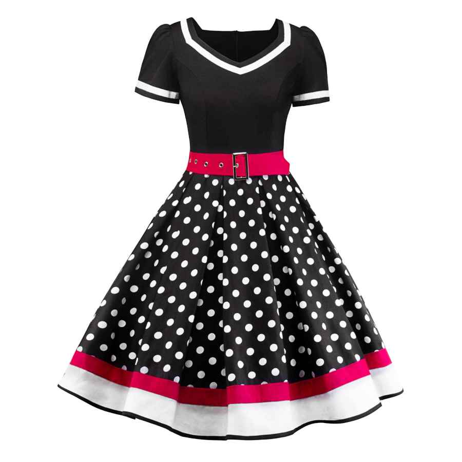 Womens Casual Dresses Sofkiny Women's 1950s Dress Polka Dot Cocktail Swing Dress With Short Sleeves