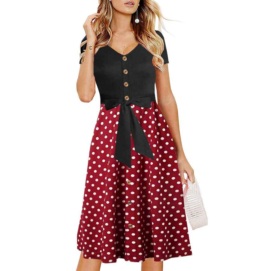 Womens Casual Dresses Drimmaks Women's Casual Aline Dress Short Sleeves Buttons Down Bowknot Polka Dot Contrast Midi Swing Party Dress