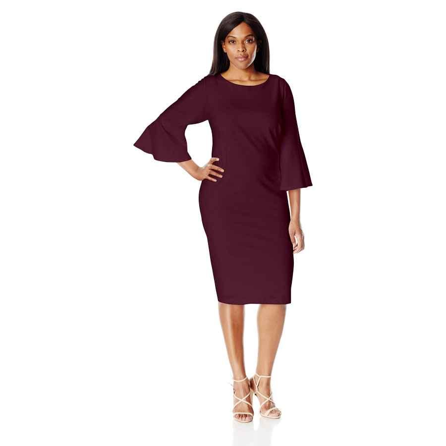Womens Casual Dresses Calvin Klein Women's Plus Size 3/4 Peplum Sleeve Sheath Dress