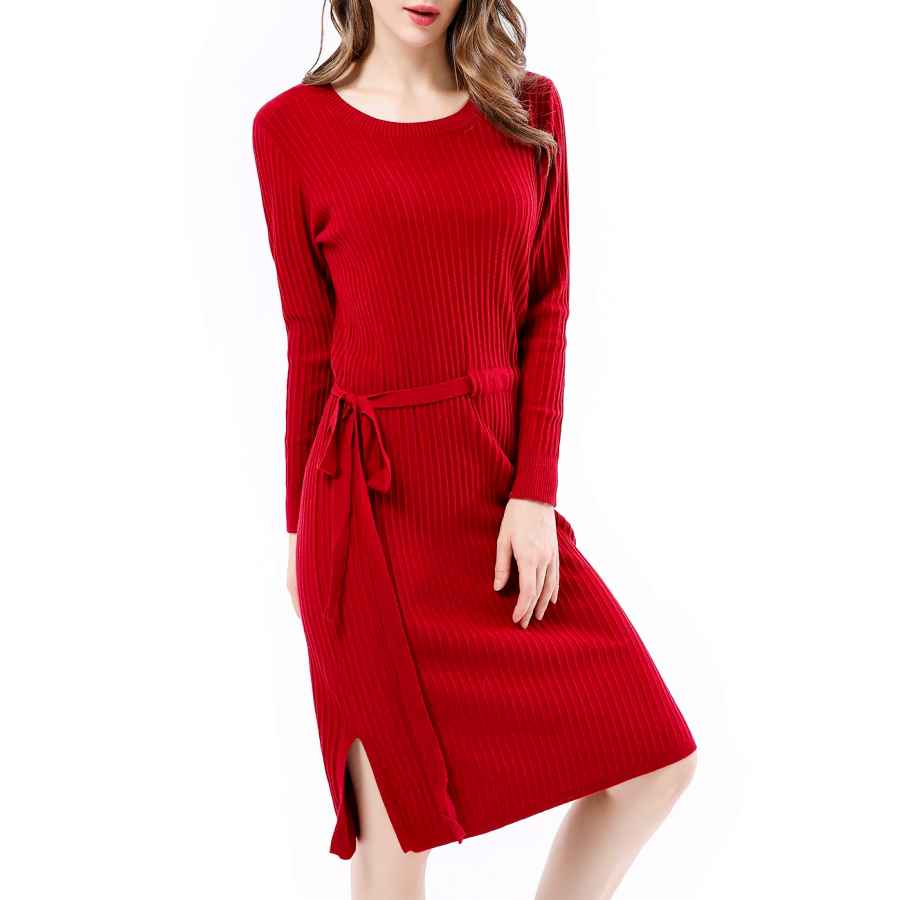 Womens Casual Dresses Women's Casual Knit Stretchable Elasticity Long Sleeve Crew Neck Slim Pullover Wool Sweater Midi Dresses