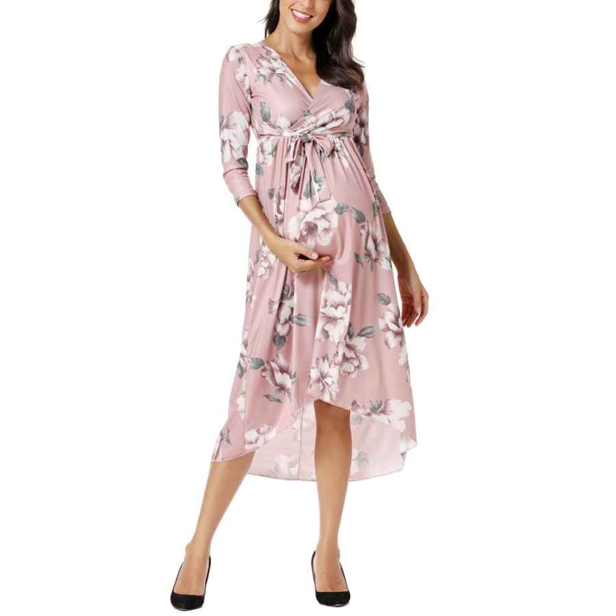 Womens Casual Dresses Liu & Qu Women's Casual Floral Maxi Dress Waist Tie V Neck Irregular Hem Photography Dresses
