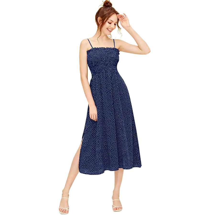 Womens Casual Dresses Shein Women's Sleeveless Straps Shirred Polka Dot Ruffle Flare A Line Midi Dress