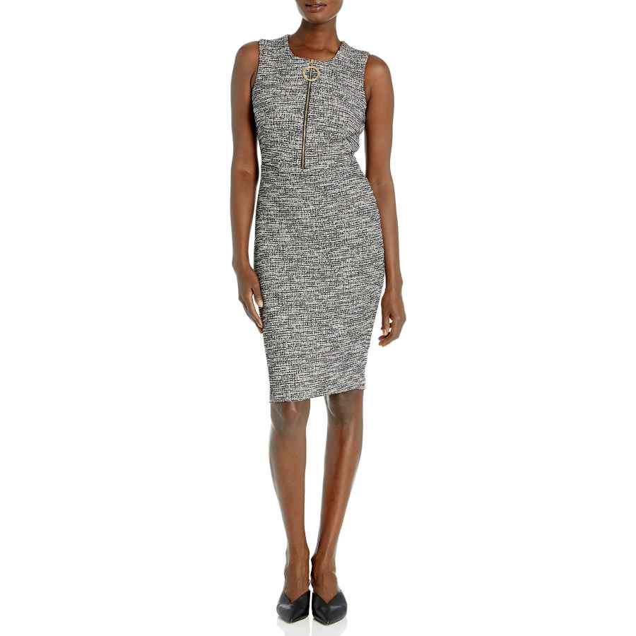Womens Casual Dresses Calvin Klein Women's Sleeveless Sheath With Zipper Front Dress