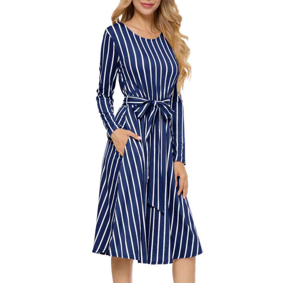 Womens Casual Dresses Levaca Women's Flowy Striped Long Sleeve Pocket Modest Work Midi Dress With Belt