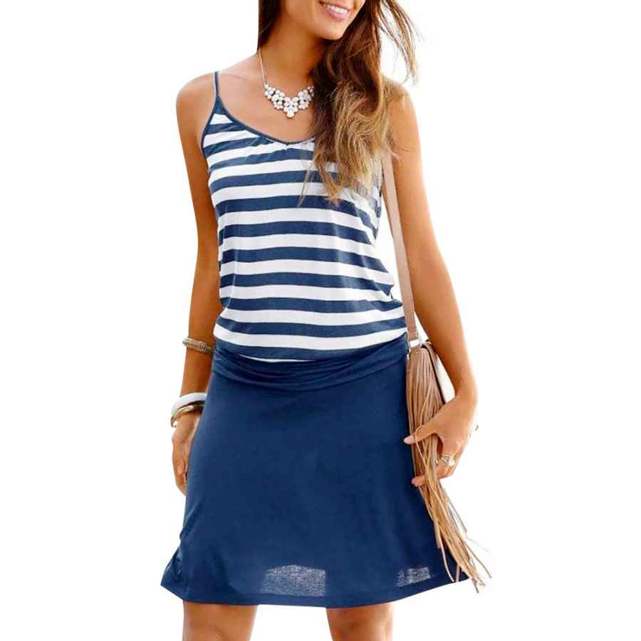 Womens Casual Dresses Jusfitsu Women's Summer Casual Dress Strappy Cotton Midi Beach Dresses Print Flare Beachwear Stretchy S-2xl